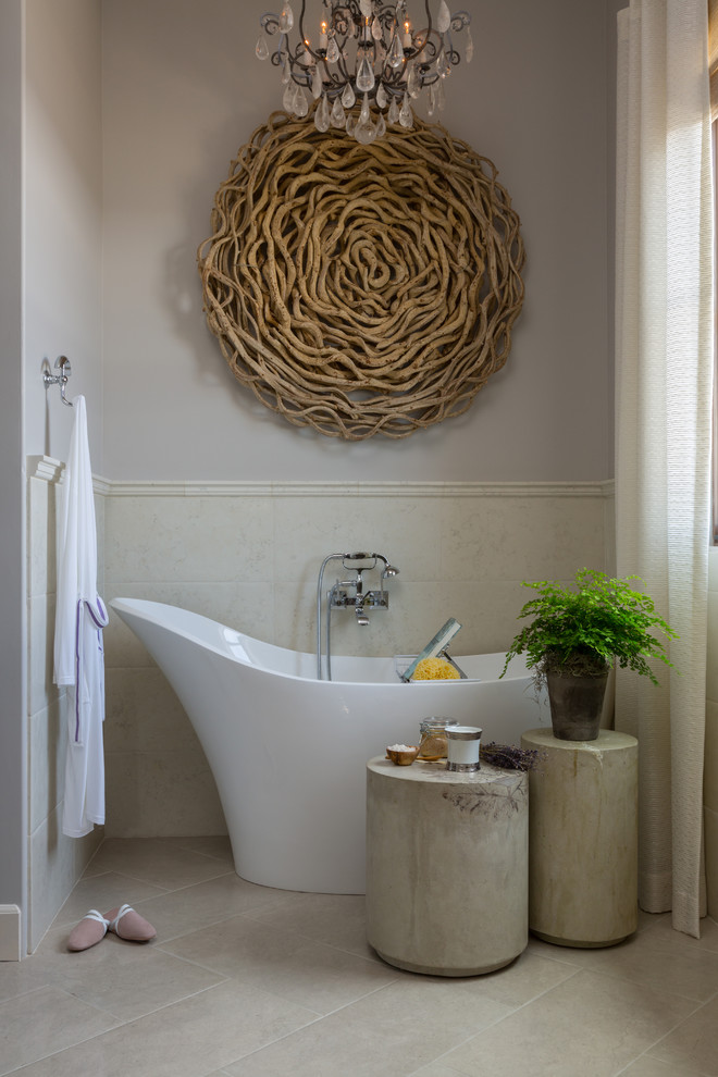 a gorgeous oversized round artwork made of driftwood is a unique idea for a bathroom  (Cindy Smetana Interiors)
