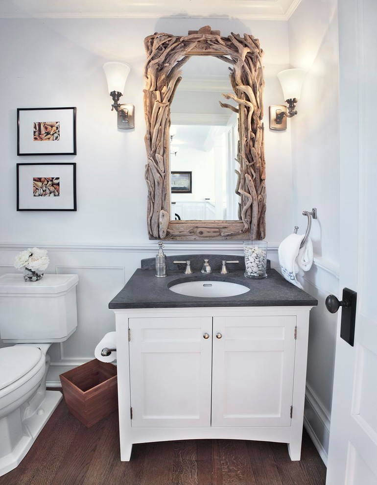 a gorgeous driftwood frame mirror will instantly bring an ocean feel to your bathroom  (Alexander D. Latham III Architecture)