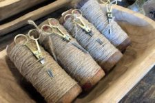 twine and scissors can be stored in dough bowls – a good idea for keen gardeners