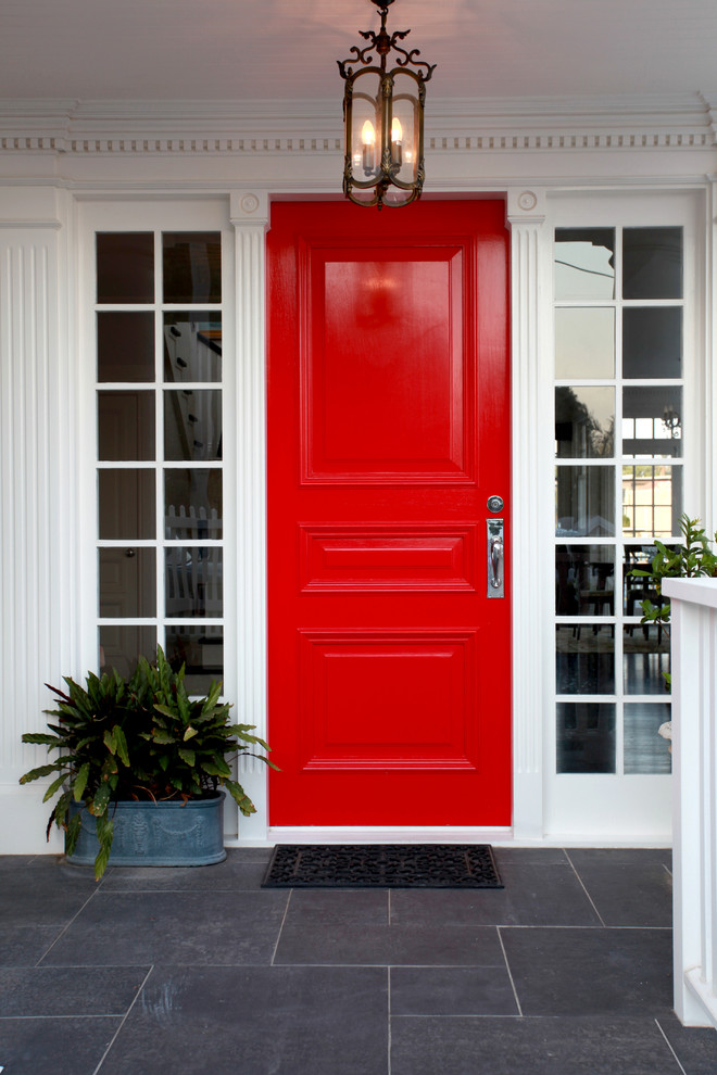 Bright Red Door Is Perfect For Minimalist Yet Cool Front Porch Design Michelle Marsden