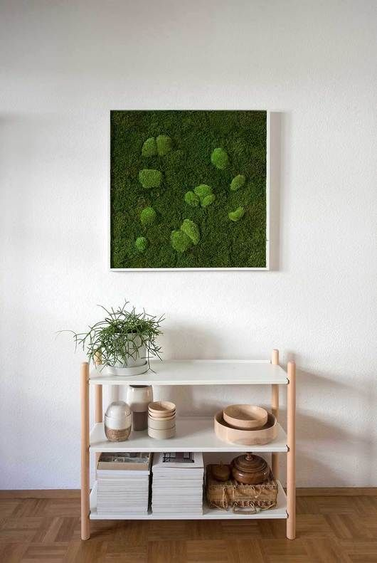 a framed moss wall art piece for a bright natural touch even outdoors