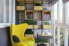 a large open shelving unit with box storage units looks industrial and contemproary at the same time