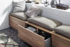 a long bench with several storage drawers is a timeless solution for any balcony, build one yourself