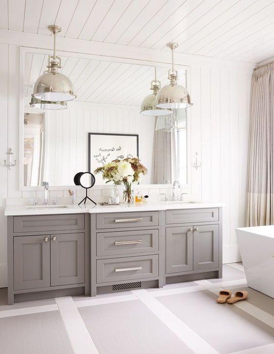 a cozy gray farmhouse bathroom design