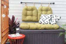 a storage bench is a perfect piece for any small balcony  – it features two functions at once