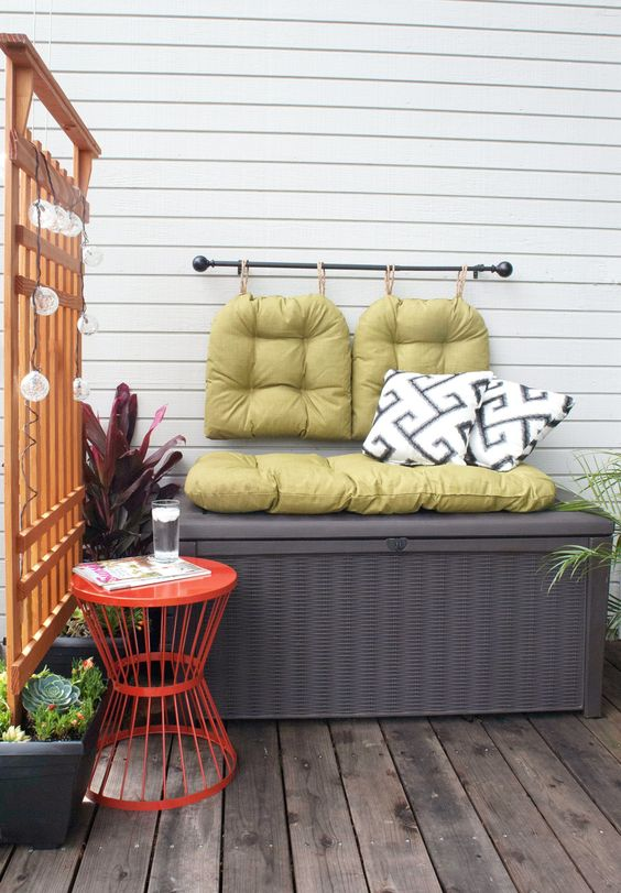 a storage bench is a perfect piece for any small balcony    it features two functions at once