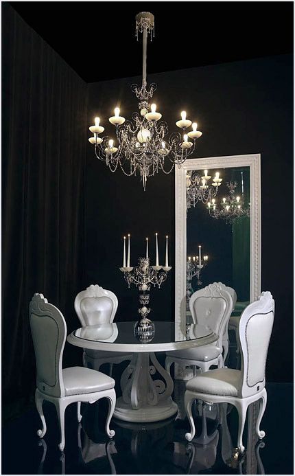 a unique Gothic dining room with black walls, a floor and a ceiling, black curtains, a round table, refined white chairs, a mirror and a chandelier