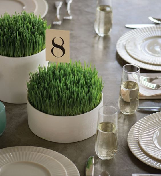 simple and laconic round planters with wheatgrass are lovely and very easy spring centerpieces for any event