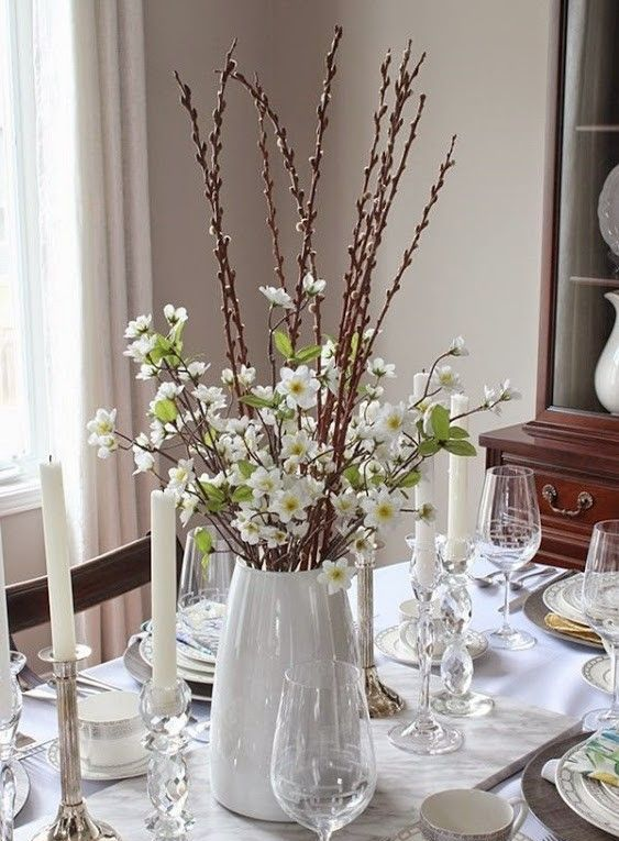 a chic spring or Easter centerpiece of white flowering branches and pussy willow is easy to compose