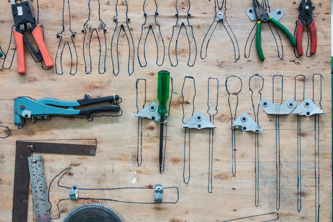 a classic tool wall will accommodate all your tools and will hint you where and what to put