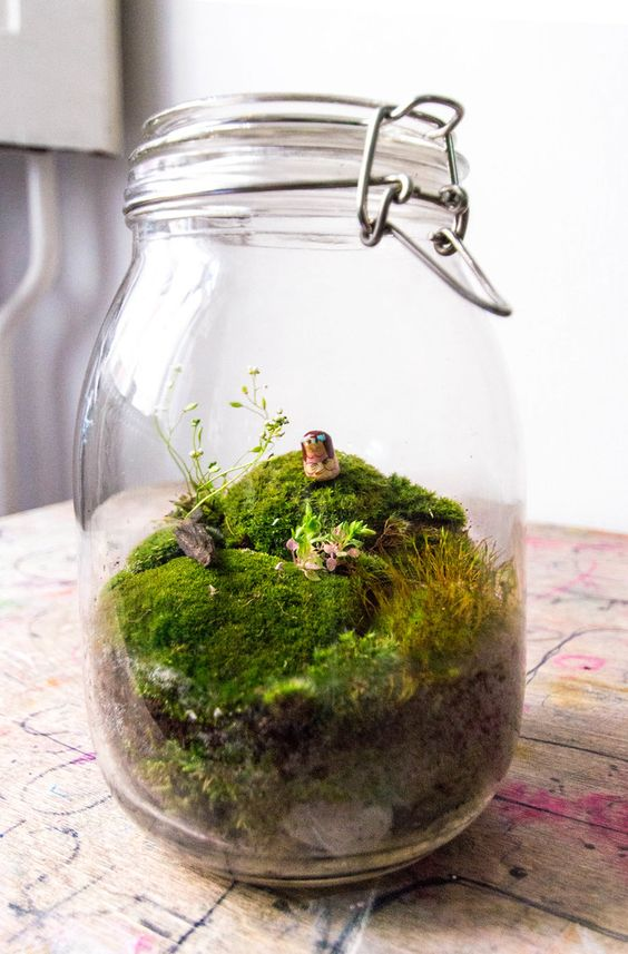 a jar with moss and some grass and a mini doll is acute and fun idea for any season