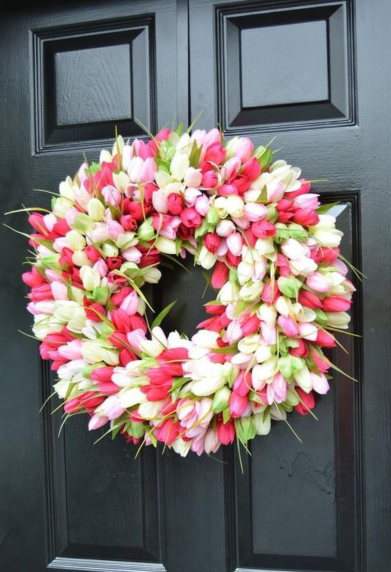 a lush and bright faux tulip wreath is an ultimate decoration for spring and Easter, and it's very long-lasting