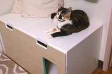a minimalist IKEA cabinet renovated for your cat – a cat toilet inside and a comfy entrance