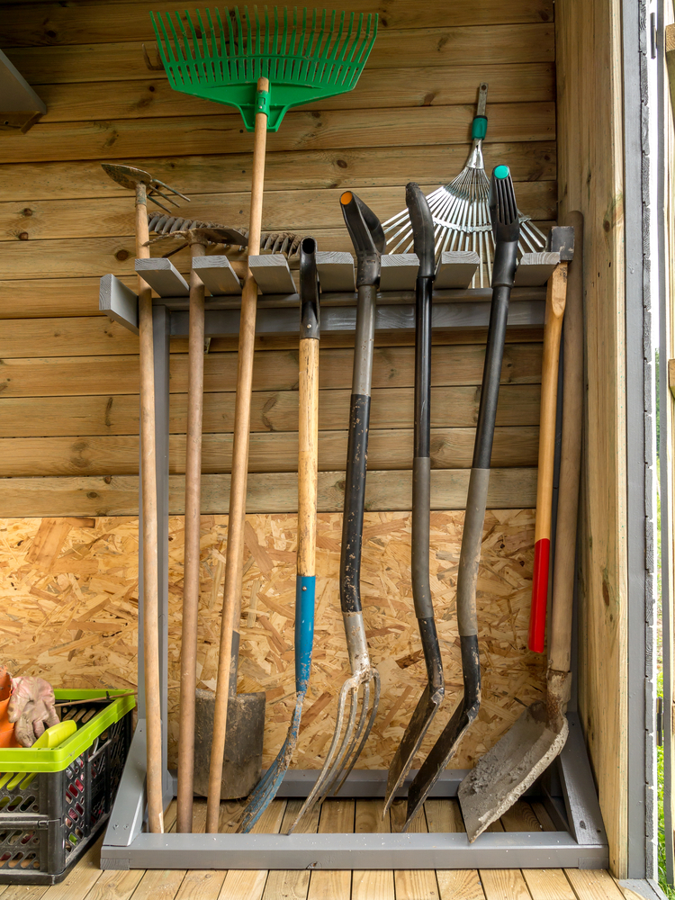 a rack for shovels and rakes is a must for every garden shed, it's very comfy in using