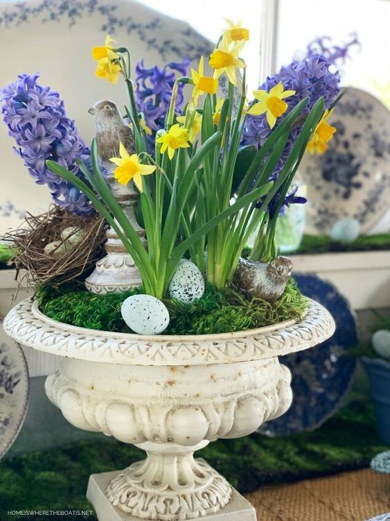 a refined spring decoration of a vintage urn with moss, daffodils and hyacinths, fake eggs, nests and birds