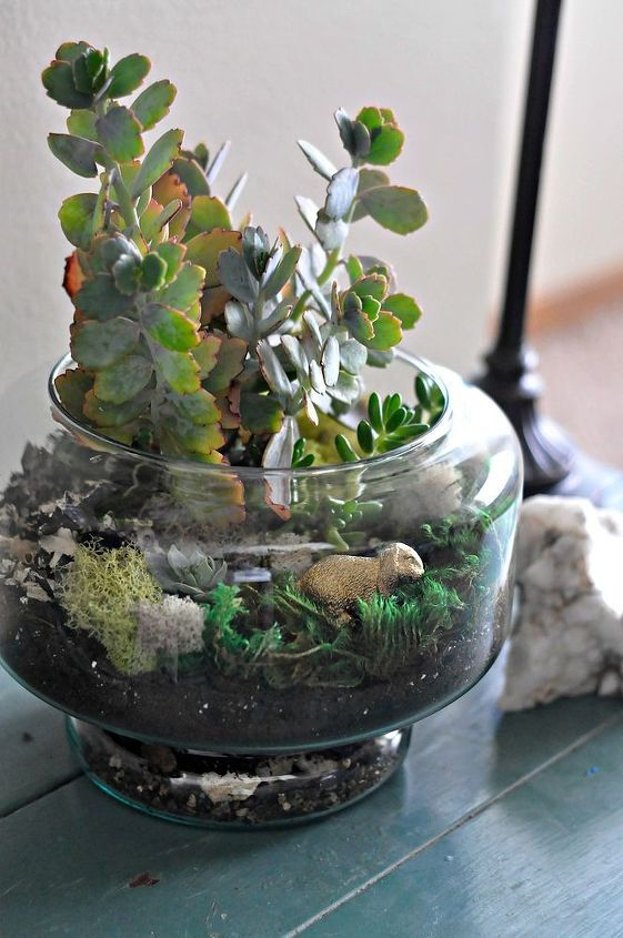 a terrarium with grass, moss, pebbles, succulents and a mini rabbit is a pretty idea for a spring-inspired space