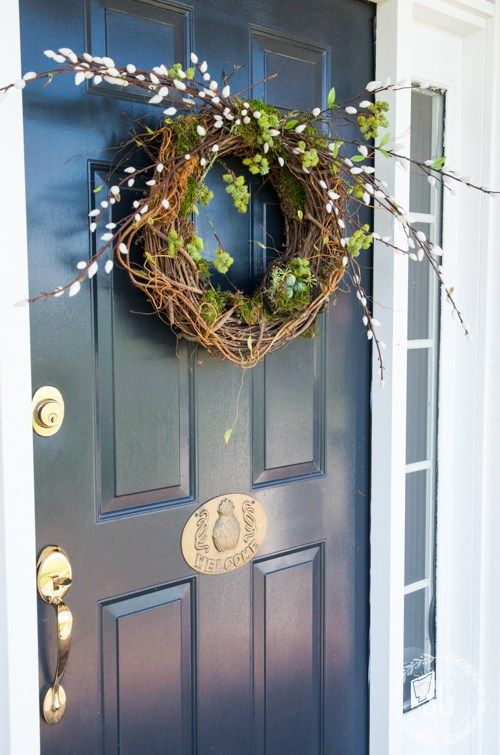 a vine wreath with moss, willow and a fake nest with colorful eggs will be a nice idea for sprign or Easter