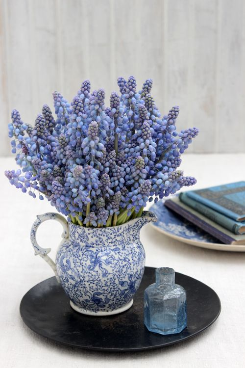 a vintage blue jug with blue and purple hyacinths is a refined vintage spring decoration to rock
