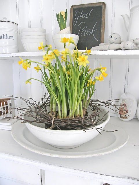 a vintage rustic decoration of a bowl, a tray with daffodils and vine is a lovely vintage decoration for any space