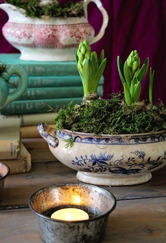 a vintage soup bowl with moss and hyacinths is a lovely vintage spring centerpiece or decoration to rock