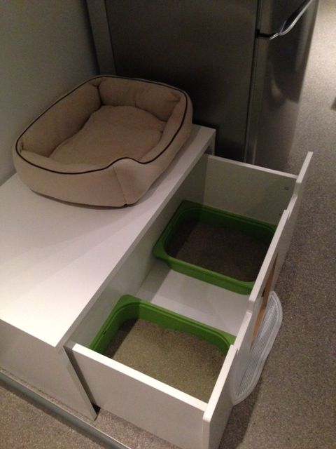 an IKEA Stuva cat toilet for two kitties is easy to clean and is comfy in using by any cat any time