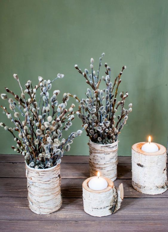 birch bark vases with willow and birch branch candleholders will bring a natural spring fele to your space