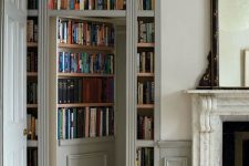built-in bookshelves and a secret door to your bedroom, bathroom or some other space