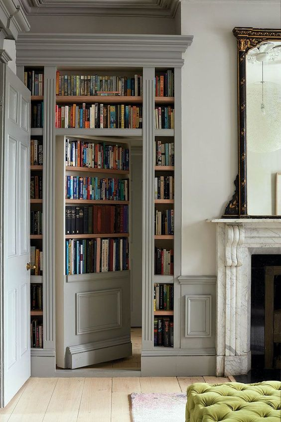 built in bookshelves and a secret door to your bedroom, bathroom or some other space