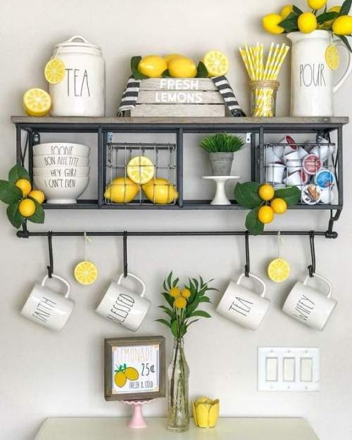 fresh and faux lemons and greenery to make your kitchen spring or summer cheerful and fun
