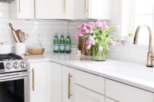 fresh pink tulips will make your kitchen feel and look like spring, bright and fun