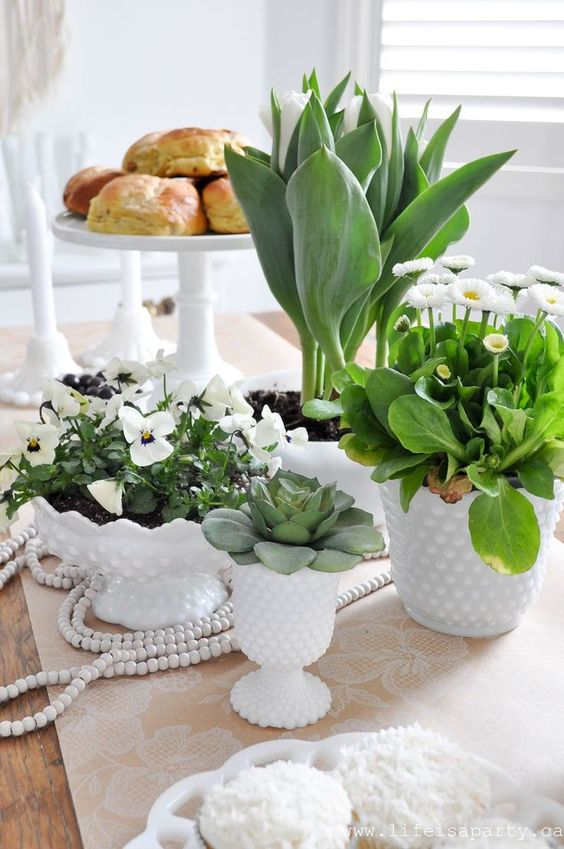 potted greenery, blooms and succulents in white porcelain will make your tablescape look bold, fresh and spring-like