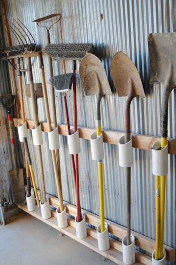 use PVC to organize your garden tools and other tools that you may use