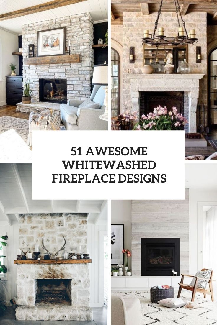 awesome whitewashed fireplace designs cover