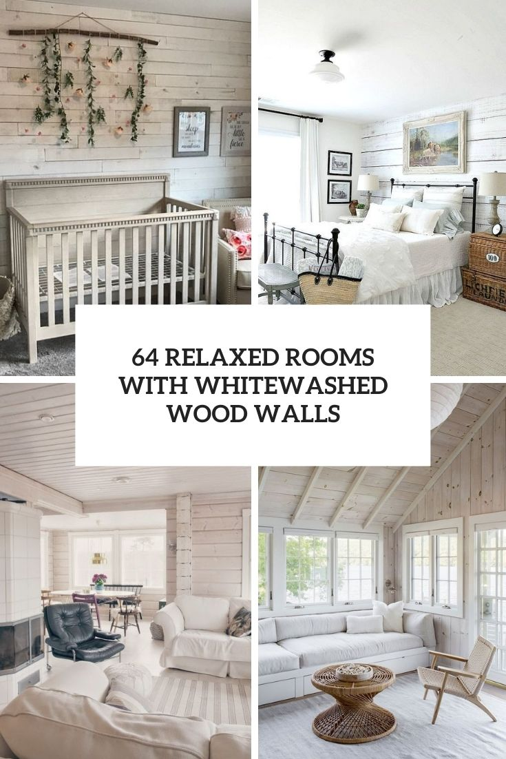 relaxed rooms with whitewashed wood walls cover