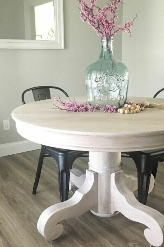a large vintage whitewashed dining table with refined legs is a lovely idea for a shabby chic or farmhouse interior and it looks chic