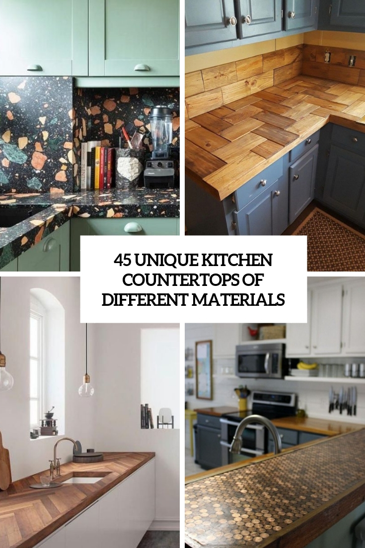 unique kitchen countertops of different materials cover
