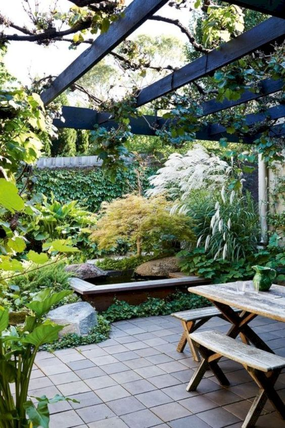 a beautiful townhouse garden with planted greenery, lush and textural herbs, a pond, tiles and a wooden dining set