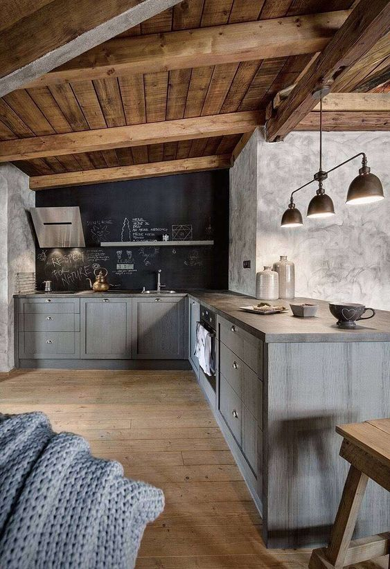 a contemporary chalet kitchen with ashy grey cabinets, a chalkboard wall, a wooden ceiling with beams