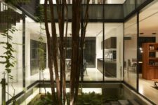 a lush indoor courtyard with ferns, rocks and trees plus some lights to accent it even at night