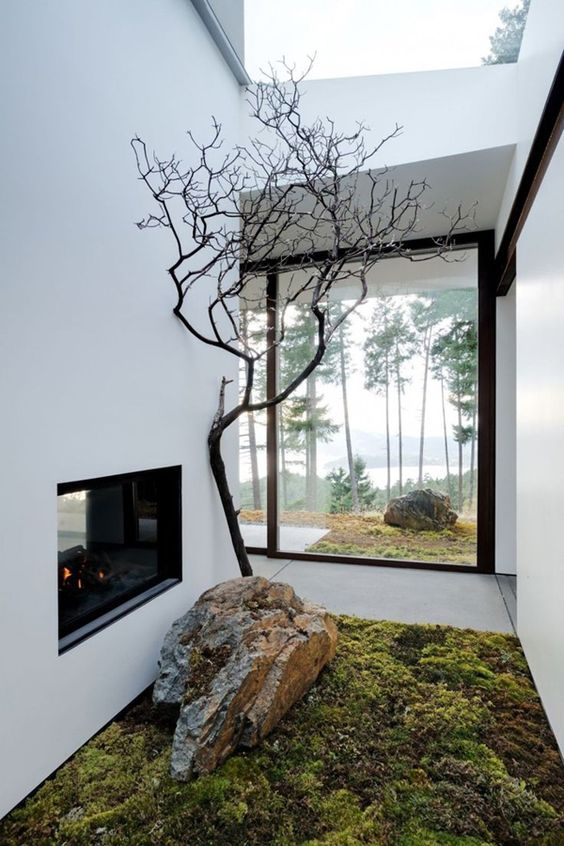 a mini Japanese courtyard with moss, a large rock and a single tree plus a built-in fireplace and a skylight