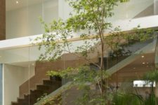 a minimalist indoor courtyard with gravel, rocks and some greenery, bamboo and trees here in the center