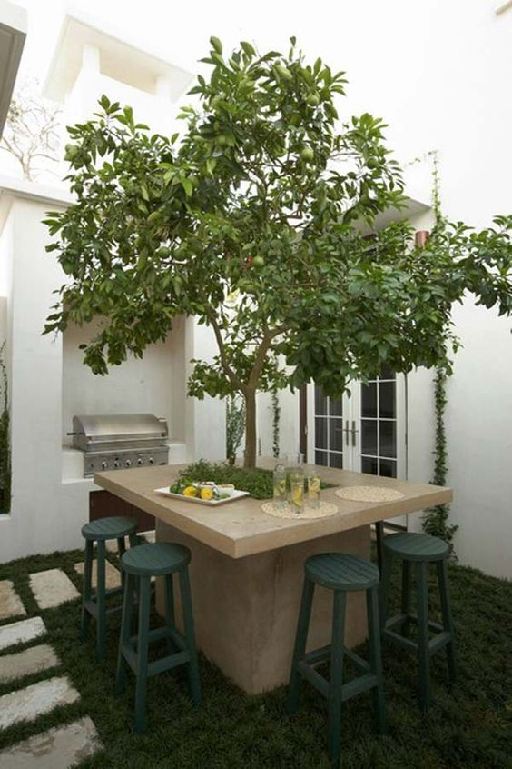 a quirky outdoor dining area with a stone table and a livign tree inside it plus dark green stools and a grill next to it