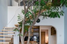 a real living tree integrated into the house decor is a very whimsy and very trendy idea for now