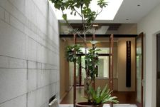 a simple inner courtyard with a waterfall, a pond and some potted plants that grow up to highlight the skylight