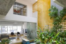a small yet cozy inner courtyard with lots of greenery and grass lit through perforated panels above