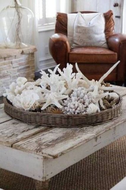 a basket tray with lots of seashells, starfish and corals is a nice decoration or centerpiece if you need one