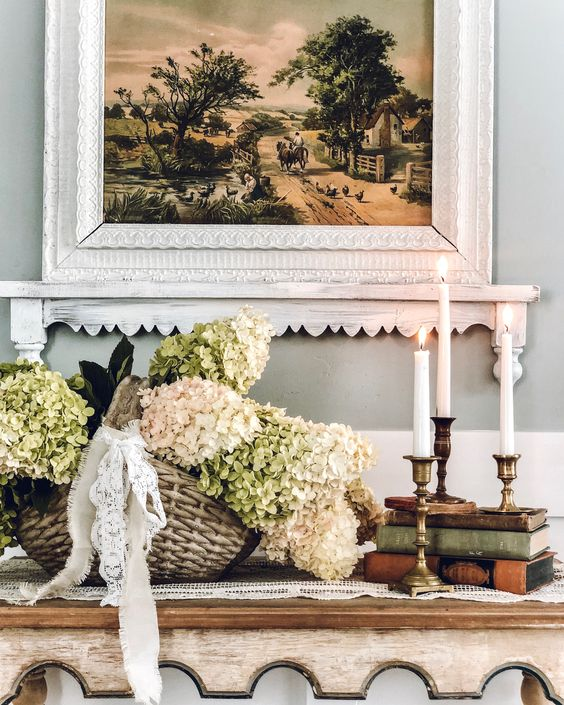a basket with neutral hydrangeas and lace bows is a cool rustic decoration for any indoor or outdoor space