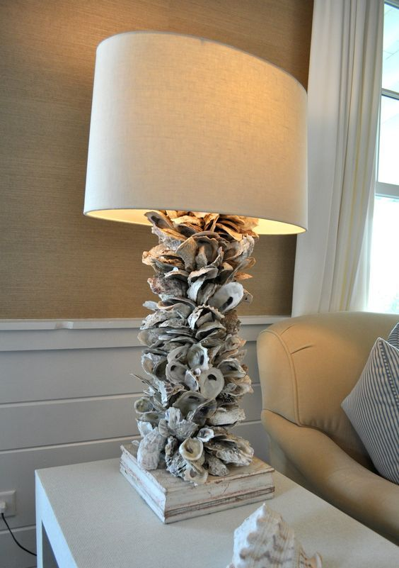 a large lamp with a neutral shade and lots of seashells covering the base looks very coastal and seaside