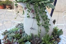 a metal bowl with succulents and a jug with them is a creative outdoor stand with plants, it will bring a rustic feel