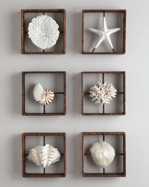 amini gallery wlal with faux starfish, corals and seashells will be a great decoration for any seaside bathroom